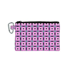 Pattern Pink Squares Square Texture Canvas Cosmetic Bag (small)