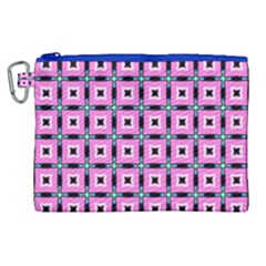 Pattern Pink Squares Square Texture Canvas Cosmetic Bag (xl)