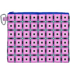 Pattern Pink Squares Square Texture Canvas Cosmetic Bag (xxxl)