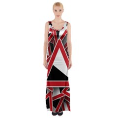 Road Sign Auto Gradient Down Below Maxi Thigh Split Dress