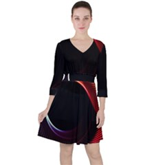 Grid Bent Vibration Ease Bend Ruffle Dress
