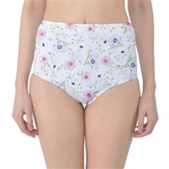 Floral Pattern Background High Waist Bikini Bottoms