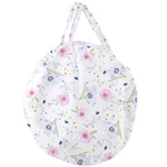 Floral Pattern Background Giant Round Zipper Tote