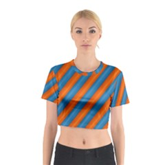 Diagonal Stripes Striped Lines Cotton Crop Top