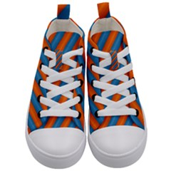 Diagonal Stripes Striped Lines Kid s Mid Top Canvas Sneakers