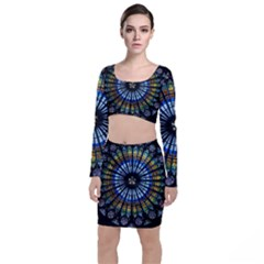 Rose Window Strasbourg Cathedral Long Sleeve Crop Top & Bodycon Skirt Set