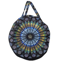 Rose Window Strasbourg Cathedral Giant Round Zipper Tote