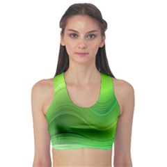 Green Wave Background Abstract Sports Bra
