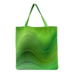 Green Wave Background Abstract Grocery Tote Bag