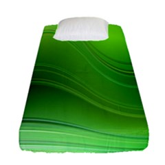 Green Wave Background Abstract Fitted Sheet (single Size)