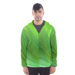 Green Wave Background Abstract Hooded Wind Breaker (men)