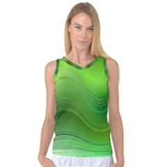 Green Wave Background Abstract Women s Basketball Tank Top