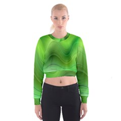 Green Wave Background Abstract Cropped Sweatshirt