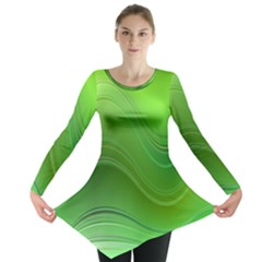 Green Wave Background Abstract Long Sleeve Tunic