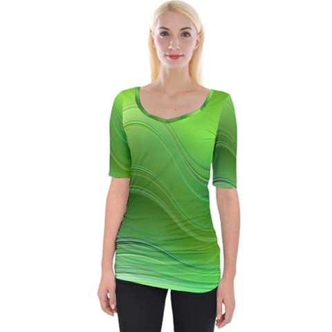 Green Wave Background Abstract Wide Neckline Tee by BangZart