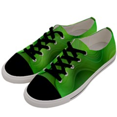 Green Wave Background Abstract Men s Low Top Canvas Sneakers by BangZart