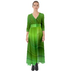 Green Wave Background Abstract Button Up Boho Maxi Dress