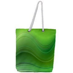 Green Wave Background Abstract Full Print Rope Handle Tote (large)