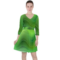 Green Wave Background Abstract Ruffle Dress
