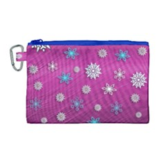 Snowflakes 3d Random Overlay Canvas Cosmetic Bag (large)