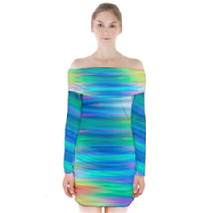 Wave Rainbow Bright Texture Long Sleeve Off Shoulder Dress