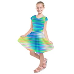 Wave Rainbow Bright Texture Kids  Short Sleeve Dress