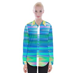 Wave Rainbow Bright Texture Womens Long Sleeve Shirt by BangZart