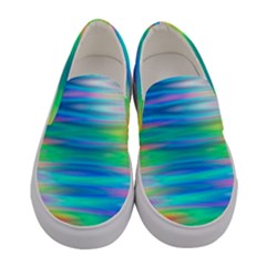 Wave Rainbow Bright Texture Women s Canvas Slip Ons