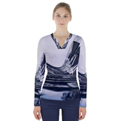 Architecture Modern Skyscraper V Neck Long Sleeve Top