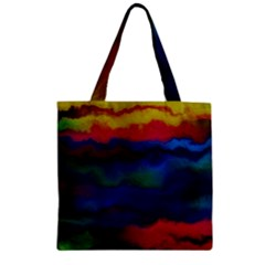 Watercolour Color Background Zipper Grocery Tote Bag by BangZart