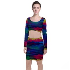 Watercolour Color Background Long Sleeve Crop Top & Bodycon Skirt Set