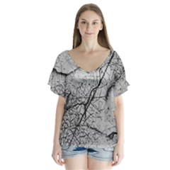 Abstract Background Texture Grey V Neck Flutter Sleeve Top