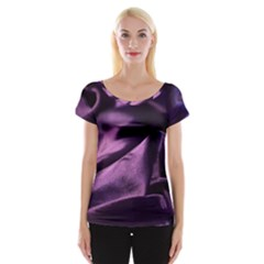 Shiny Purple Silk Royalty Cap Sleeve Tops