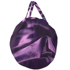 Shiny Purple Silk Royalty Giant Round Zipper Tote