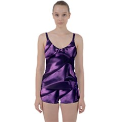 Shiny Purple Silk Royalty Tie Front Two Piece Tankini