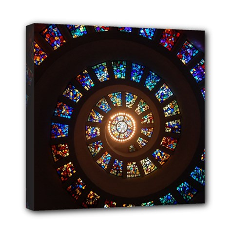 Stained Glass Spiral Circle Pattern Mini Canvas 8  X 8