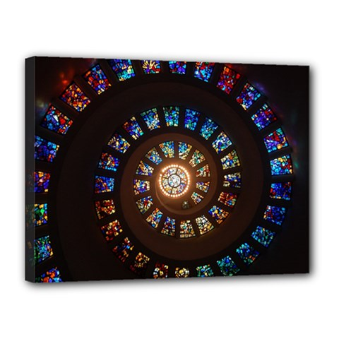 Stained Glass Spiral Circle Pattern Canvas 16  X 12