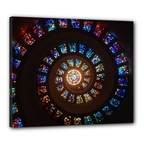Stained Glass Spiral Circle Pattern Canvas 24  X 20  by BangZart