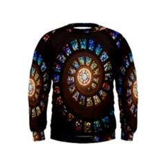 Stained Glass Spiral Circle Pattern Kids  Sweatshirt