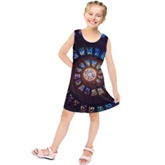 Stained Glass Spiral Circle Pattern Kids  Tunic Dress