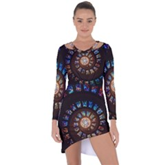 Stained Glass Spiral Circle Pattern Asymmetric Cut Out Shift Dress