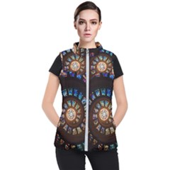 Stained Glass Spiral Circle Pattern Women s Puffer Vest