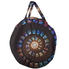 Stained Glass Spiral Circle Pattern Giant Round Zipper Tote