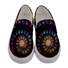 Stained Glass Spiral Circle Pattern Women s Canvas Slip Ons