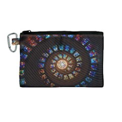 Stained Glass Spiral Circle Pattern Canvas Cosmetic Bag (medium)