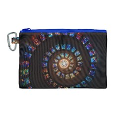 Stained Glass Spiral Circle Pattern Canvas Cosmetic Bag (large) by BangZart