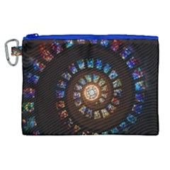 Stained Glass Spiral Circle Pattern Canvas Cosmetic Bag (xl)
