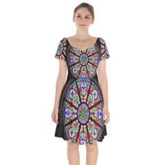 Church Window Window Rosette Short Sleeve Bardot Dress