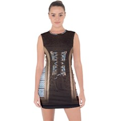 Church Window Church Lace Up Front Bodycon Dress