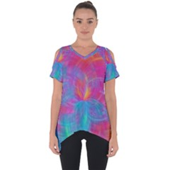 Abstract Fantastic Fractal Gradient Cut Out Side Drop Tee